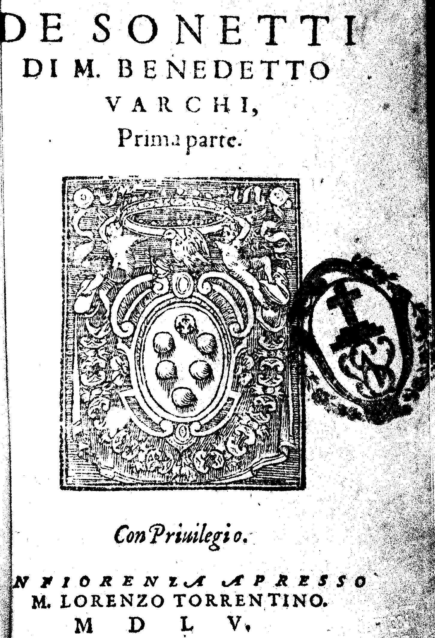 varchi benedetto dei sonetti 1555 fondation barbier. Black Bedroom Furniture Sets. Home Design Ideas